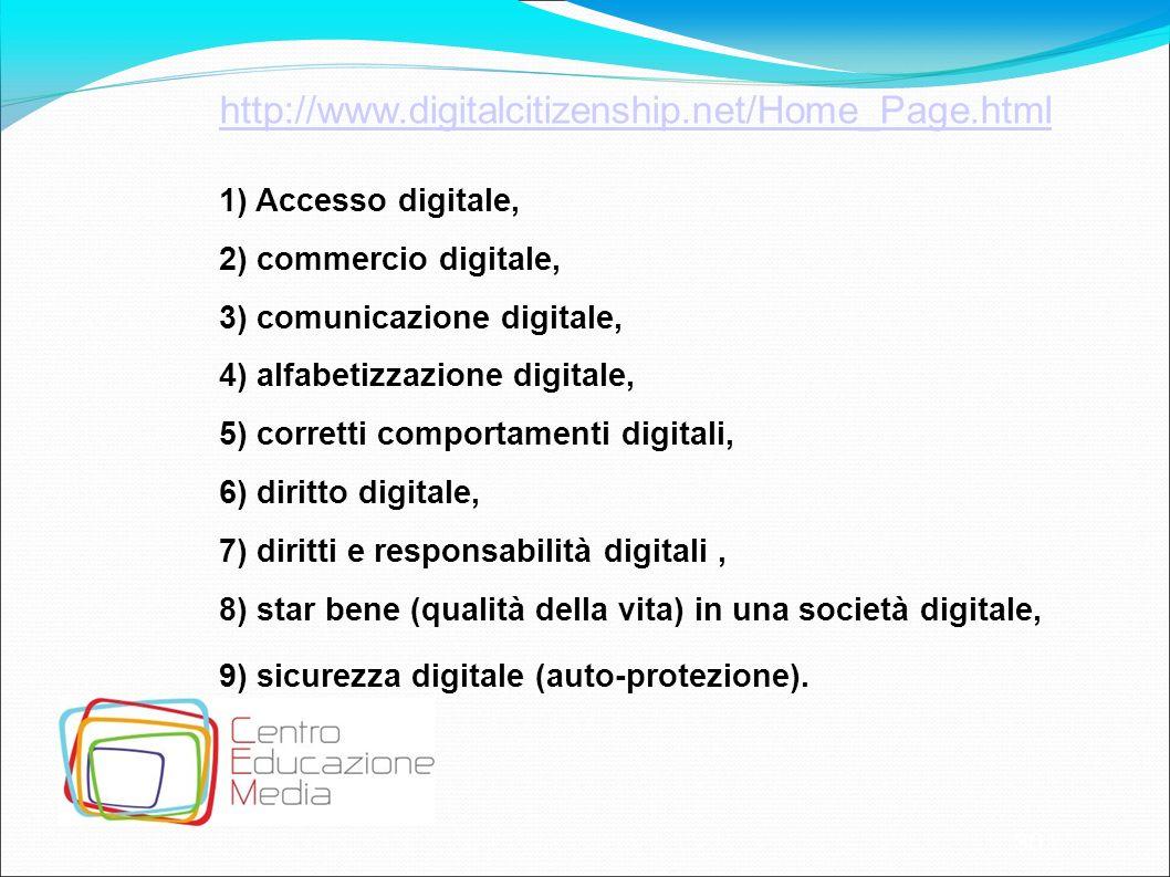 30 http://www.digitalcitizenship.net/Home_Page.html 1) Accesso digitale, 2) commercio digitale, 3) comunicazione digitale, 4) alfabetizzazione digital