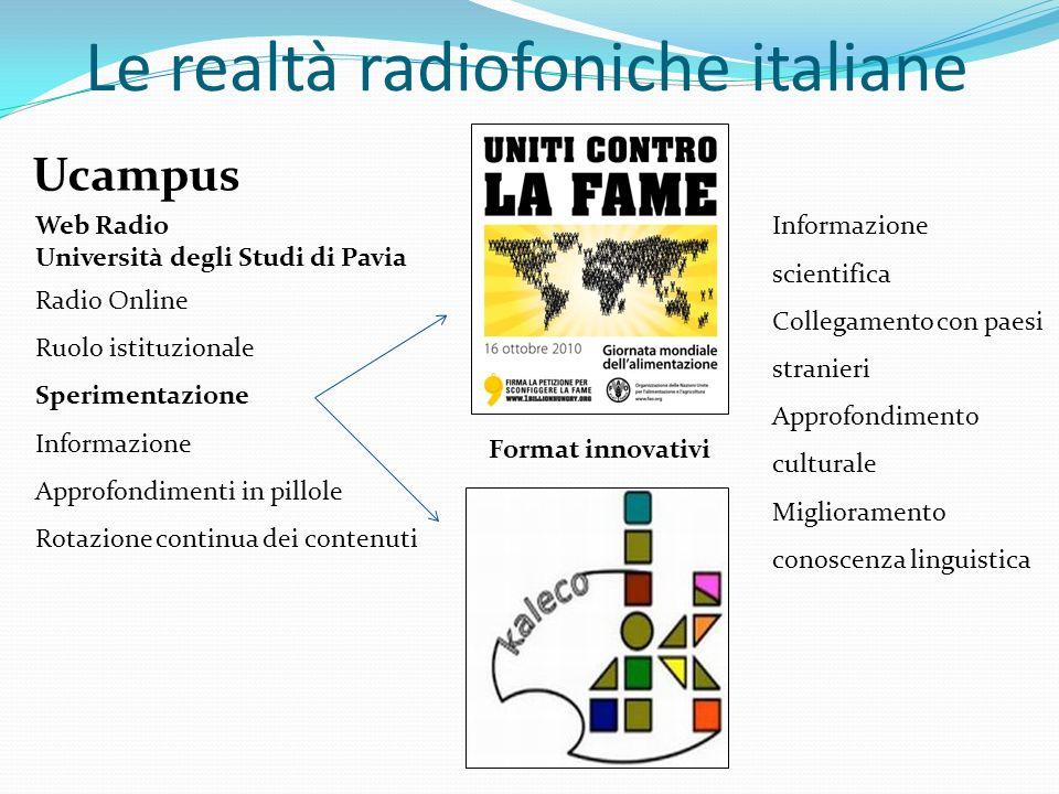 Web Radio Università degli Studi di Pavia Radio Online Ruolo istituzionale Sperimentazione Informazione Approfondimenti in pillole Rotazione continua