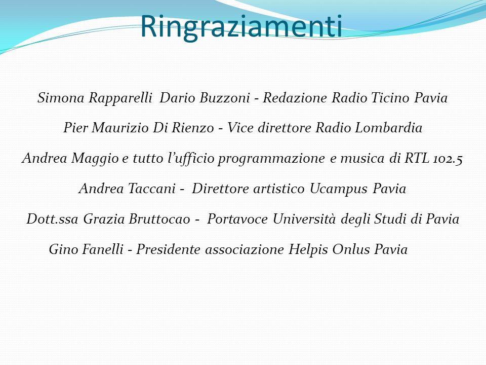 Simona Rapparelli Dario Buzzoni - Redazione Radio Ticino Pavia Pier Maurizio Di Rienzo - Vice direttore Radio Lombardia Andrea Maggio e tutto lufficio