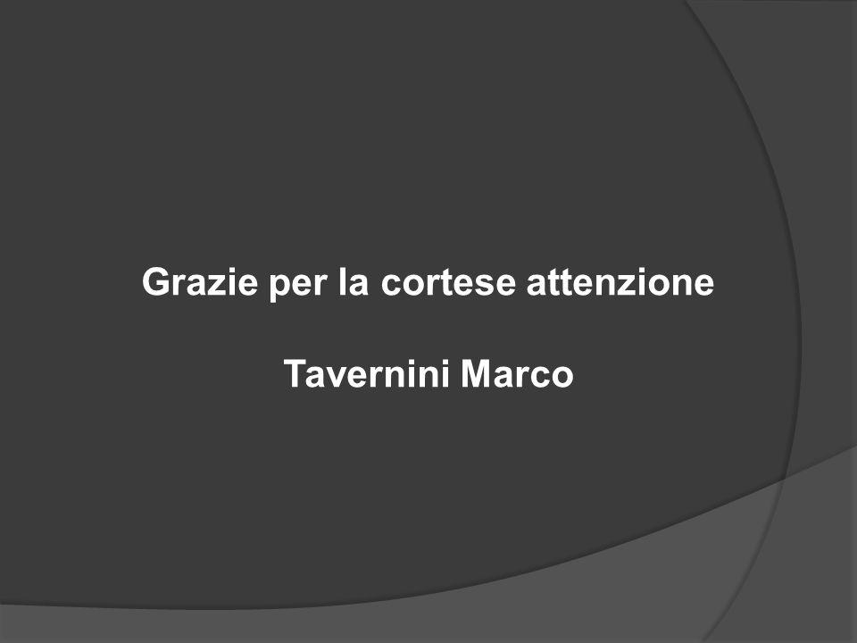 Grazie per la cortese attenzione Tavernini Marco