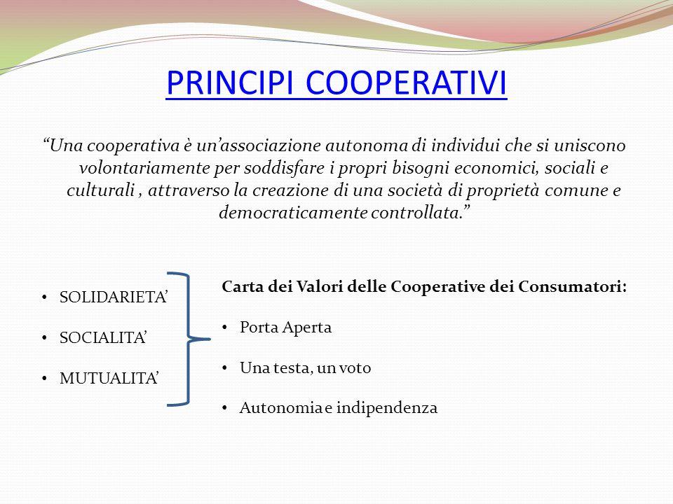 PRINCIPI COOPERATIVI Una cooperativa è unassociazione autonoma di individui che si uniscono volontariamente per soddisfare i propri bisogni economici,