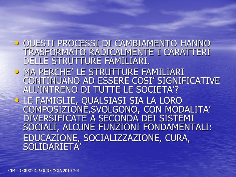 QUESTI PROCESSI DI CAMBIAMENTO HANNO TRASFORMATO RADICALMENTE I CARATTERI DELLE STRUTTURE FAMILIARI.