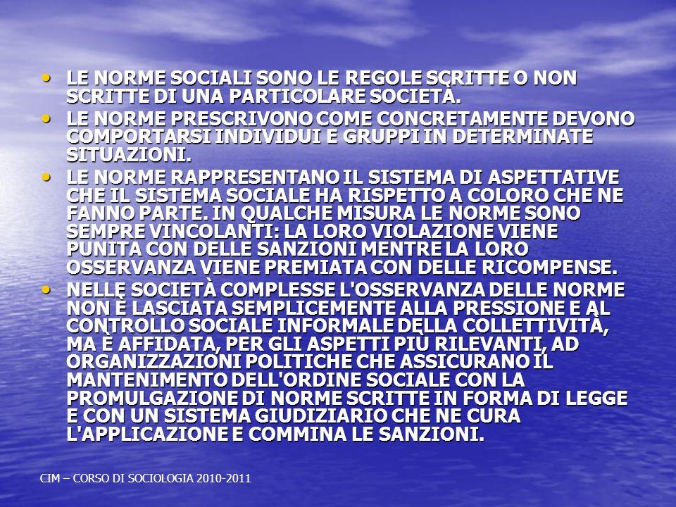 LE NORME SOCIALI SONO LE REGOLE SCRITTE O NON SCRITTE DI UNA PARTICOLARE SOCIETÀ.