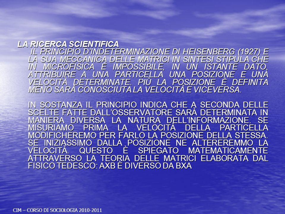 LA RICERCA SCIENTIFICA IL PRINCIPIO DINDETERMINAZIONE DI HEISENBERG (1927) E LA SUA MECCANICA DELLE MATRICI IN SINTESI STIPULA CHE IN MICROFISICA È IMPOSSIBILE, IN UN ISTANTE DATO, ATTRIBUIRE A UNA PARTICELLA UNA POSIZIONE E UNA VELOCITÀ DETERMINATE.