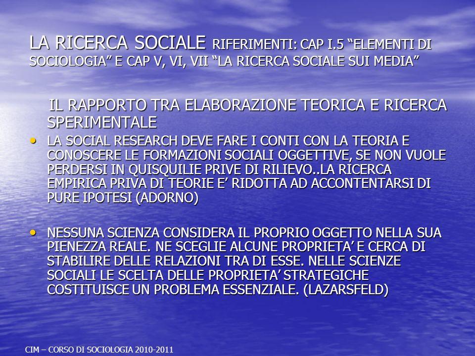 LA RICERCA SOCIALE RIFERIMENTI: CAP I.5 ELEMENTI DI SOCIOLOGIA E CAP V, VI, VII LA RICERCA SOCIALE SUI MEDIA IL RAPPORTO TRA ELABORAZIONE TEORICA E RI