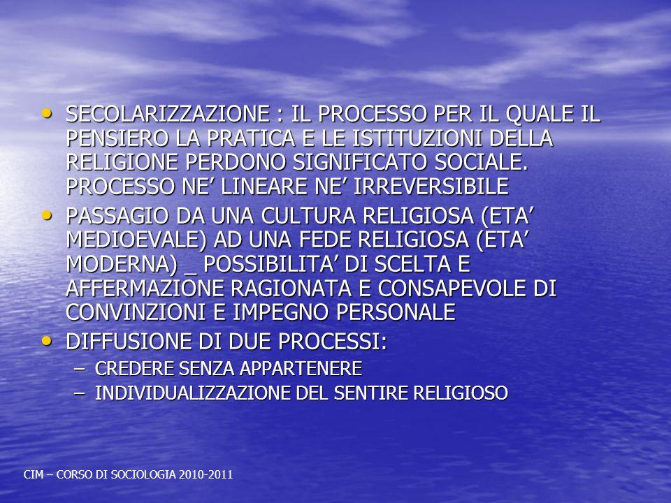 SECOLARIZZAZIONE : IL PROCESSO PER IL QUALE IL PENSIERO LA PRATICA E LE ISTITUZIONI DELLA RELIGIONE PERDONO SIGNIFICATO SOCIALE. PROCESSO NE LINEARE N