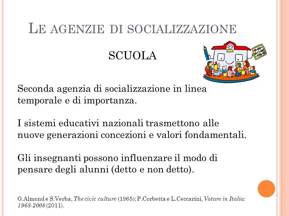 L E AGENZIE DI SOCIALIZZAZIONE SCUOLA Seconda agenzia di socializzazione in linea temporale e di importanza.