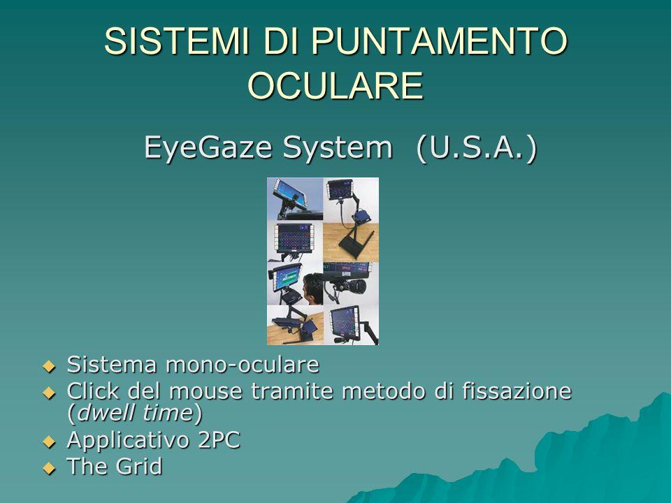 SISTEMI DI PUNTAMENTO OCULARE Sistema mono-oculare Sistema mono-oculare Click del mouse tramite metodo di fissazione (dwell time) Click del mouse tram