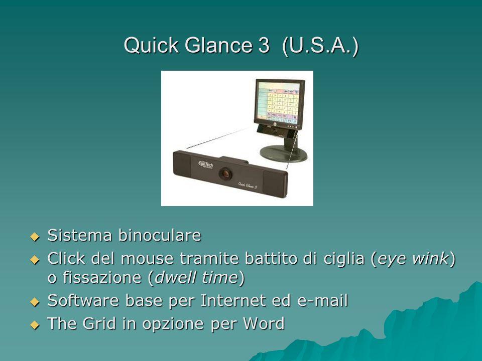 Quick Glance 3 (U.S.A.) Sistema binoculare Sistema binoculare Click del mouse tramite battito di ciglia (eye wink) o fissazione (dwell time) Click del