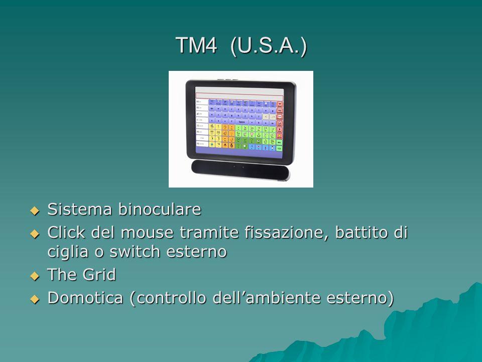 TM4 (U.S.A.) Sistema binoculare Sistema binoculare Click del mouse tramite fissazione, battito di ciglia o switch esterno Click del mouse tramite fiss