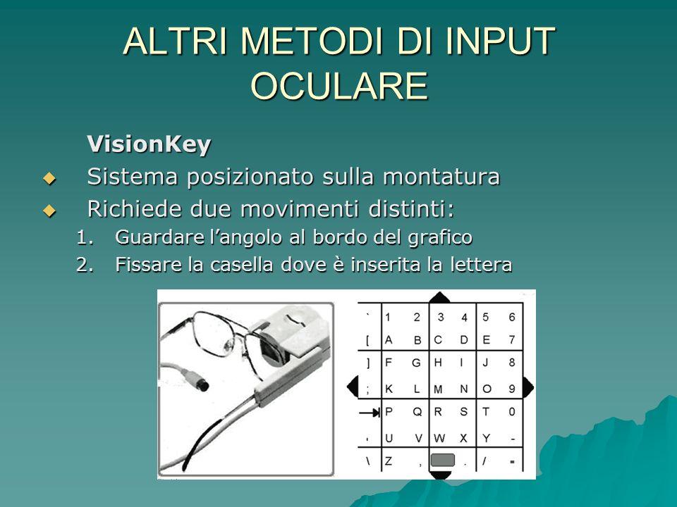 ALTRI METODI DI INPUT OCULARE VisionKey Sistema posizionato sulla montatura Sistema posizionato sulla montatura Richiede due movimenti distinti: Richi