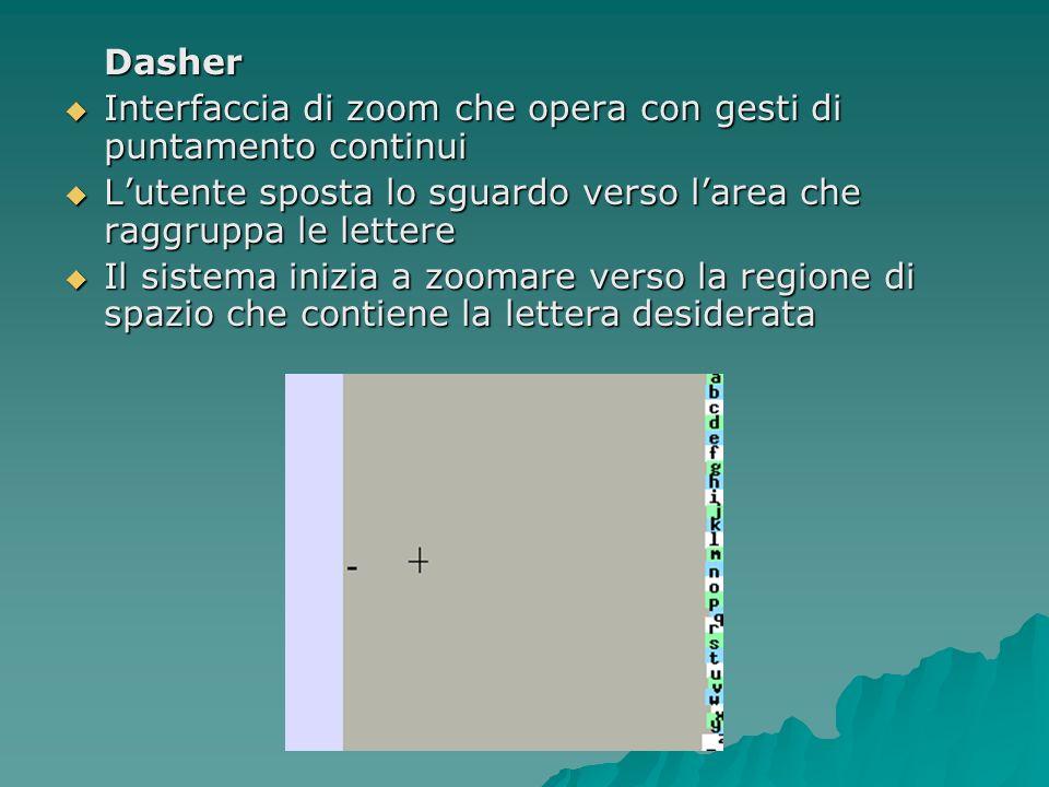 Dasher Interfaccia di zoom che opera con gesti di puntamento continui Interfaccia di zoom che opera con gesti di puntamento continui Lutente sposta lo