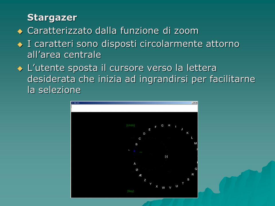 Stargazer Caratterizzato dalla funzione di zoom Caratterizzato dalla funzione di zoom I caratteri sono disposti circolarmente attorno allarea centrale