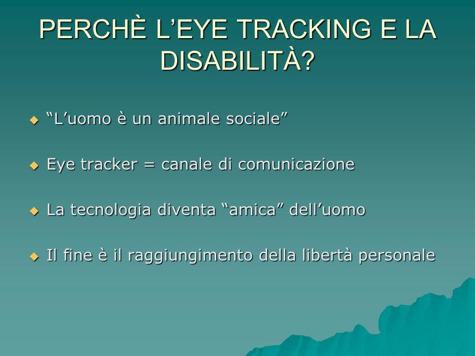 PERCHÈ LEYE TRACKING E LA DISABILITÀ? Luomo è un animale sociale Luomo è un animale sociale Eye tracker = canale di comunicazione Eye tracker = canale
