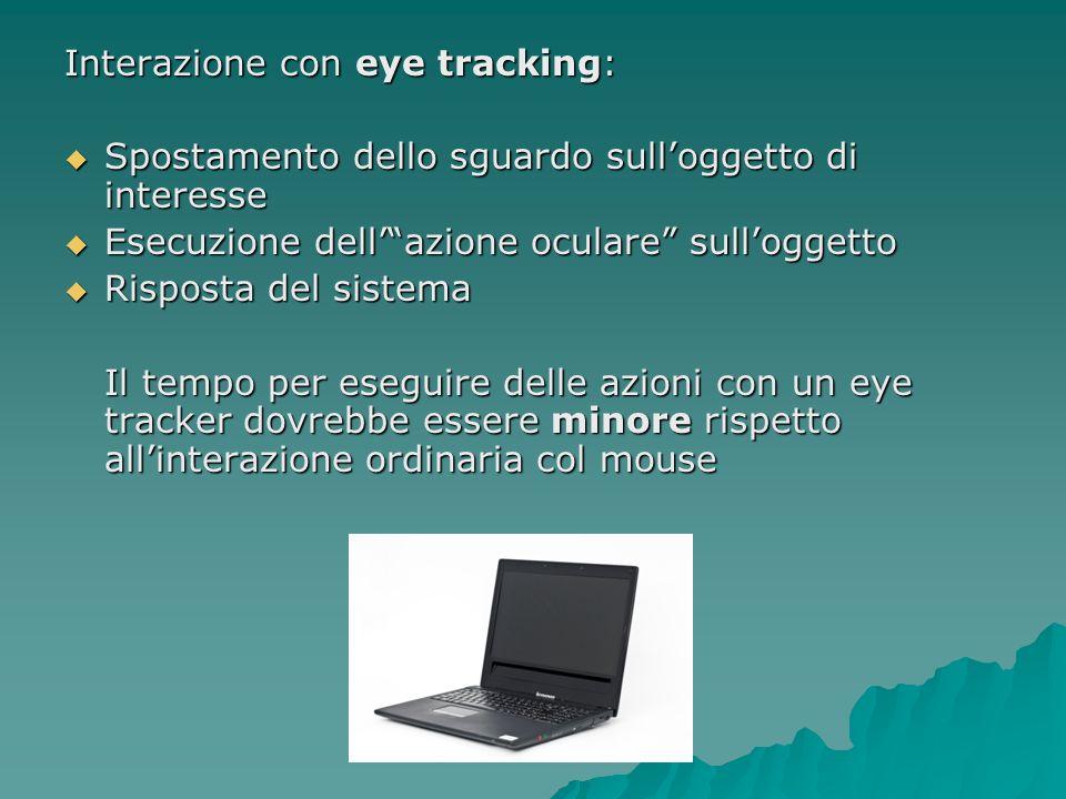 Interazione con eye tracking: Spostamento dello sguardo sulloggetto di interesse Spostamento dello sguardo sulloggetto di interesse Esecuzione dellazi