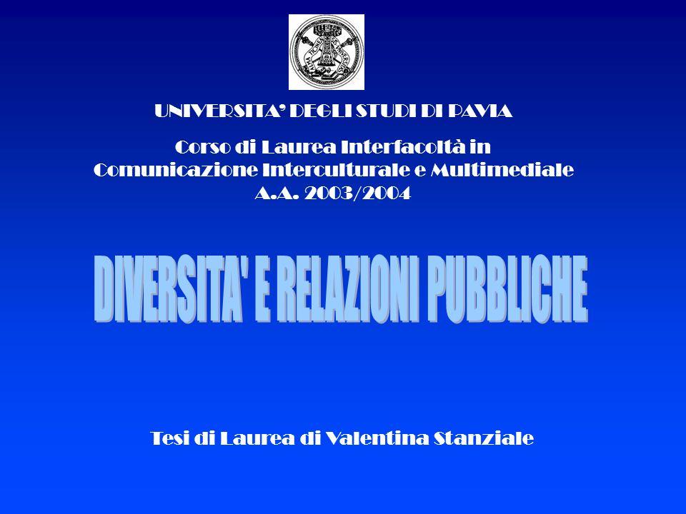 UNIVERSITA DEGLI STUDI DI PAVIA Corso di Laurea Interfacoltà in Comunicazione Interculturale e Multimediale A.A. 2003/2004 Tesi di Laurea di Valentina