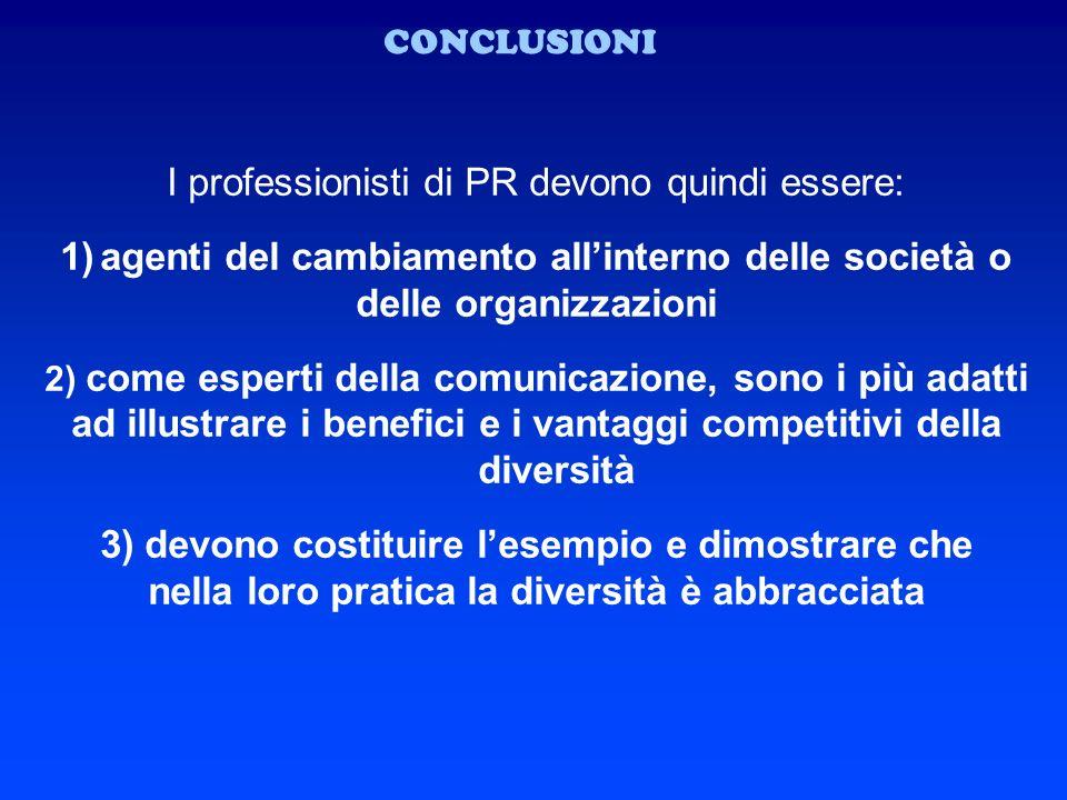 I professionisti di PR devono quindi essere: 1)agenti del cambiamento allinterno delle società o delle organizzazioni 2) come esperti della comunicazi
