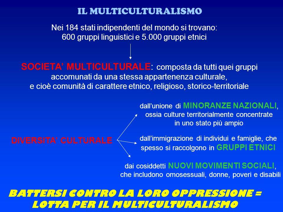IL MULTICULTURALISMO Nei 184 stati indipendenti del mondo si trovano: 600 gruppi linguistici e 5.000 gruppi etnici SOCIETA MULTICULTURALE: composta da