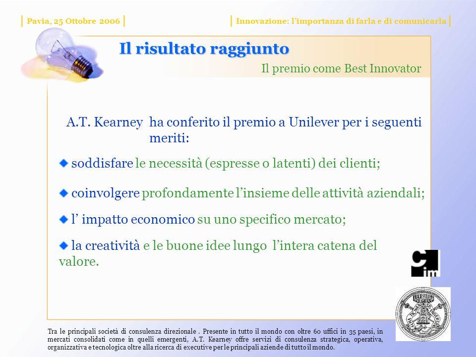 | Pavia, 25 Ottobre 2006 || Innovazione: limportanza di farla e di comunicarla | Il risultato raggiunto Il premio come Best Innovator A.T.