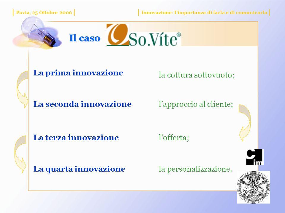 | Pavia, 25 Ottobre 2006 || Innovazione: limportanza di farla e di comunicarla | Il caso La prima innovazione la cottura sottovuoto; La seconda innovazionelapproccio al cliente; La terza innovazionelofferta; La quarta innovazionela personalizzazione.