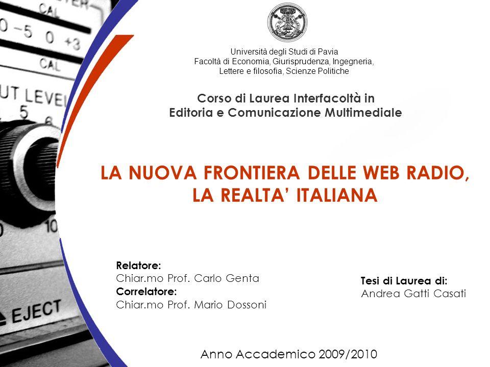 Università degli Studi di Pavia Facoltà di Economia, Giurisprudenza, Ingegneria, Lettere e filosofia, Scienze Politiche Corso di Laurea Interfacoltà i