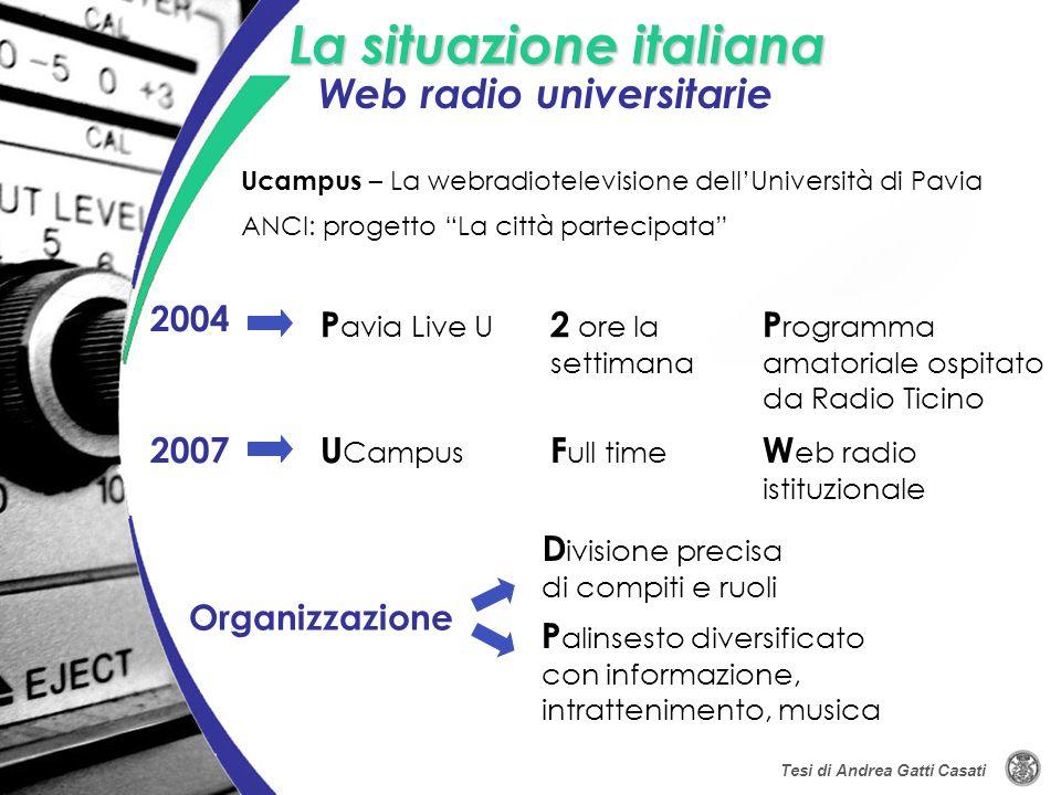 La situazione italiana 2004 Ucampus – La webradiotelevisione dellUniversità di Pavia P avia Live U 2 ore la settimana P rogramma amatoriale ospitato d