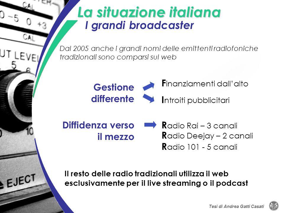La situazione italiana Gestione differente Dal 2005 anche i grandi nomi delle emittenti radiofoniche tradizionali sono comparsi sul web Diffidenza ver