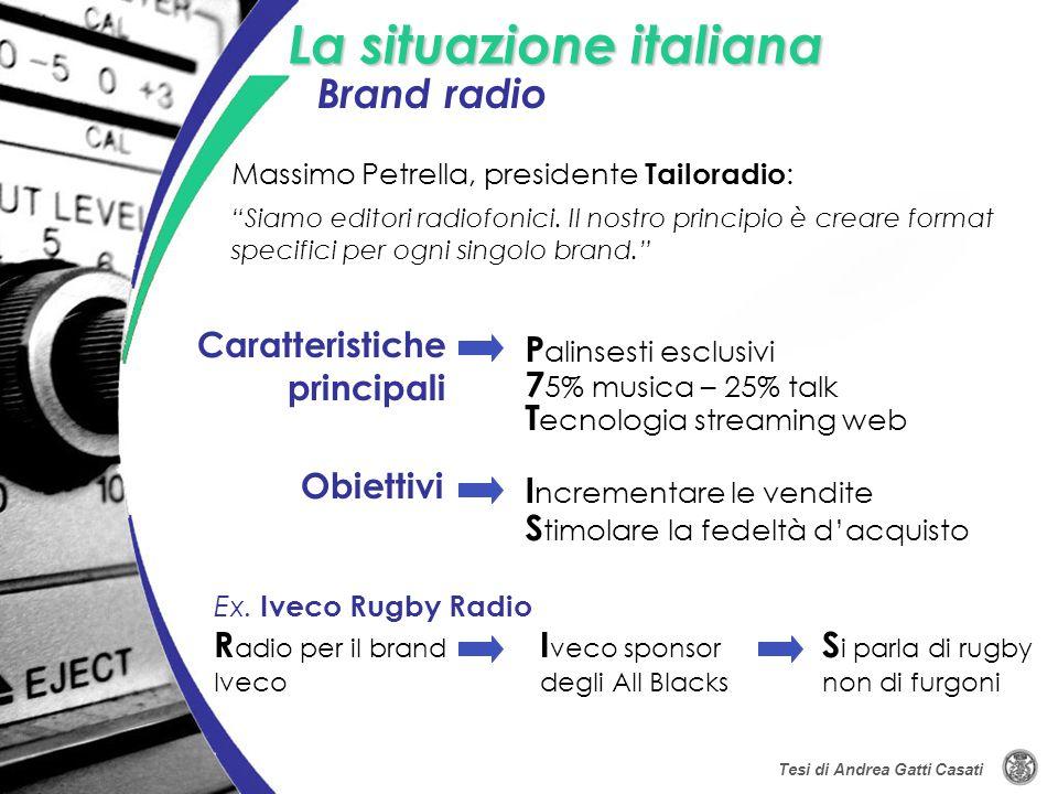 La situazione italiana P alinsesti esclusivi Caratteristiche principali 7 5% musica – 25% talk Siamo editori radiofonici. Il nostro principio è creare
