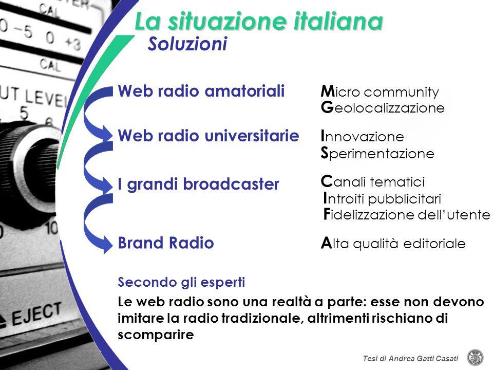 La situazione italiana Le web radio sono una realtà a parte: esse non devono imitare la radio tradizionale, altrimenti rischiano di scomparire Secondo
