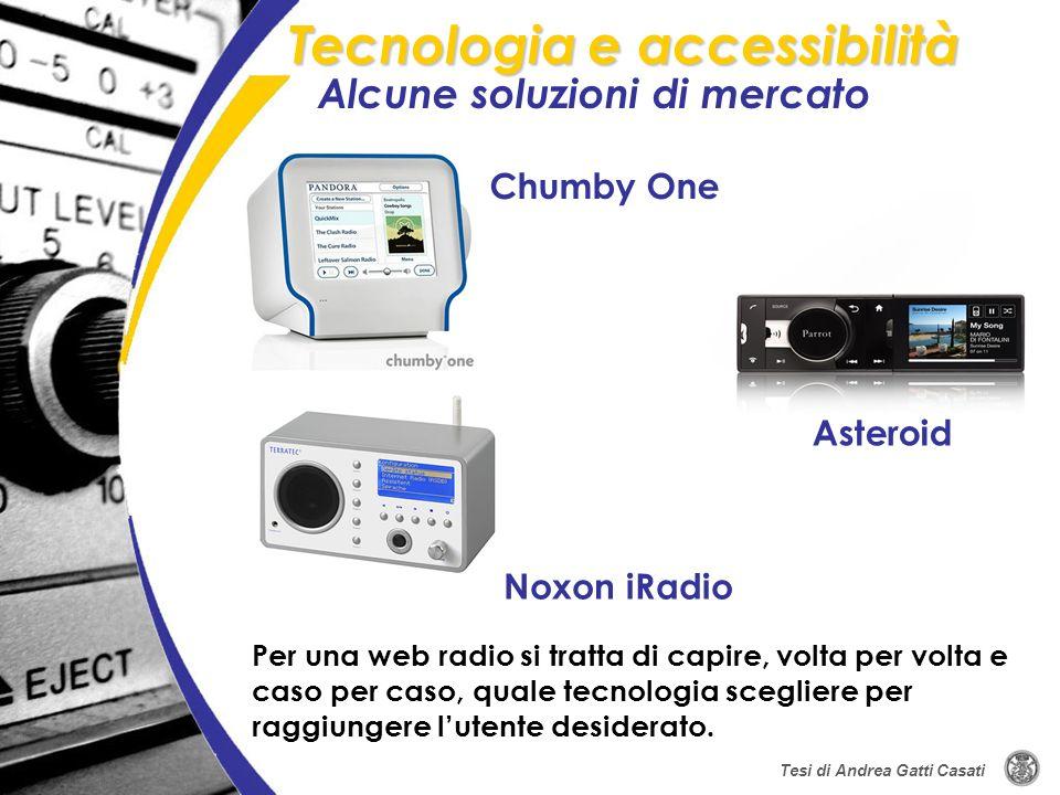 Alcune soluzioni di mercato Tecnologia e accessibilità Tesi di Andrea Gatti Casati Chumby One Asteroid Noxon iRadio Per una web radio si tratta di cap