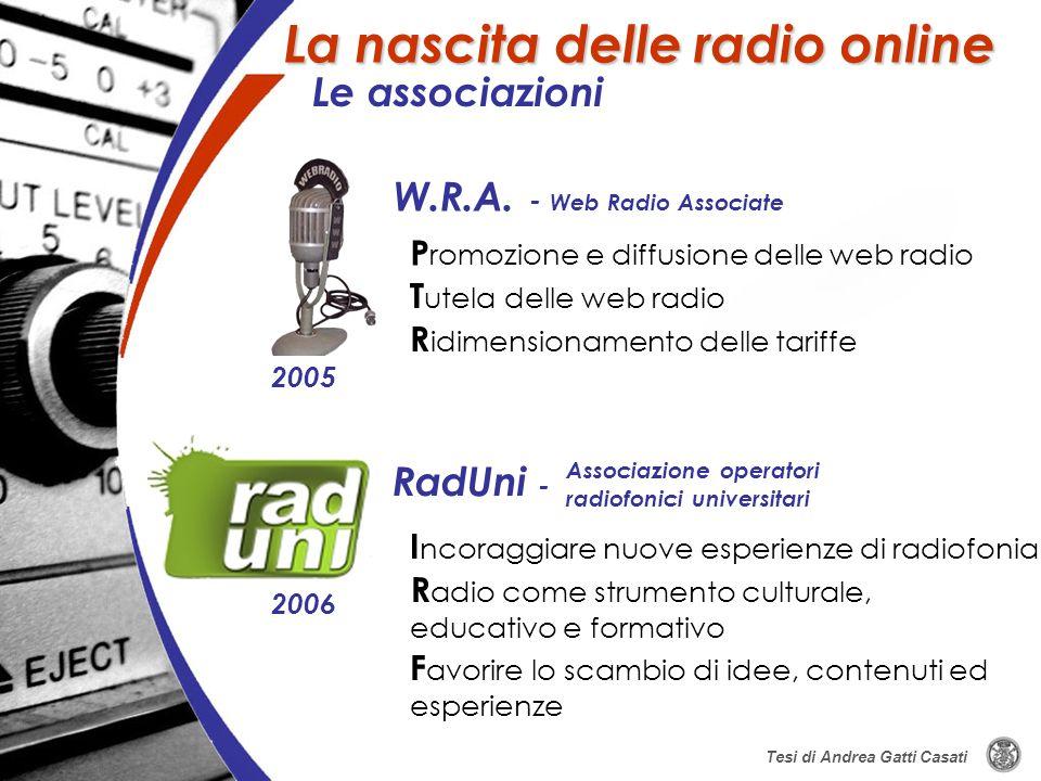 W.R.A. - Web Radio Associate RadUni - I ncoraggiare nuove esperienze di radiofonia P romozione e diffusione delle web radio R adio come strumento cult