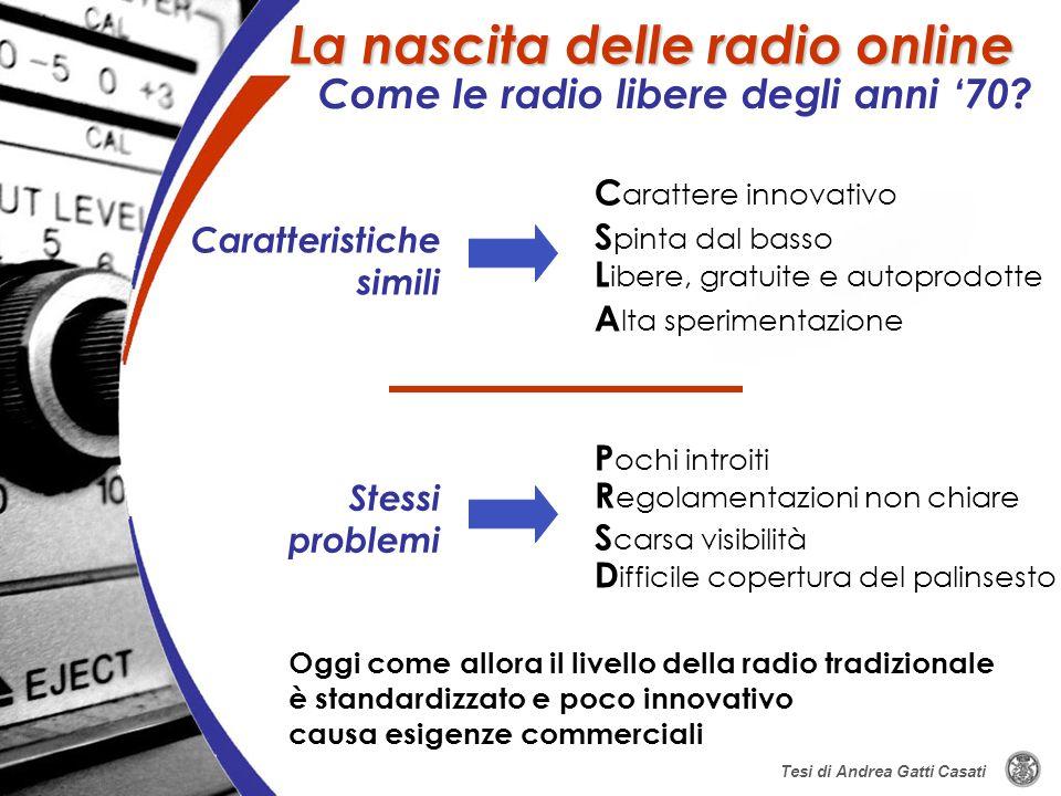 Oggi come allora il livello della radio tradizionale è standardizzato e poco innovativo causa esigenze commerciali Caratteristiche simili C arattere i