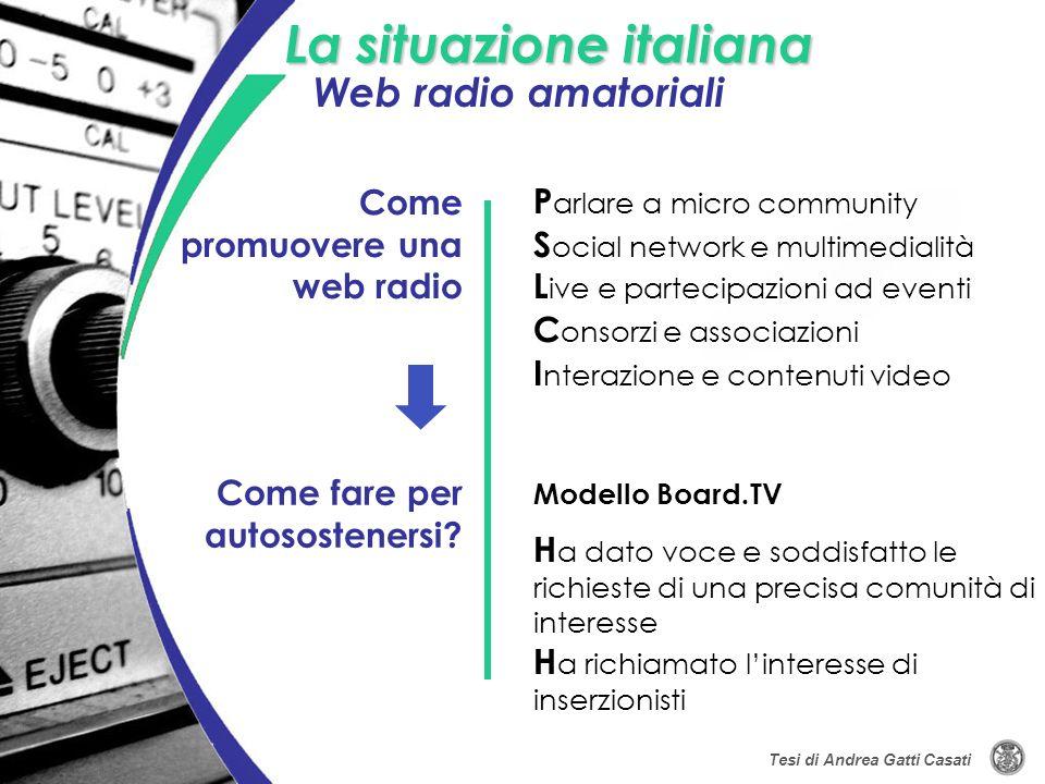 La situazione italiana Modello Board.TV Come promuovere una web radio Come fare per autosostenersi? C onsorzi e associazioni L ive e partecipazioni ad