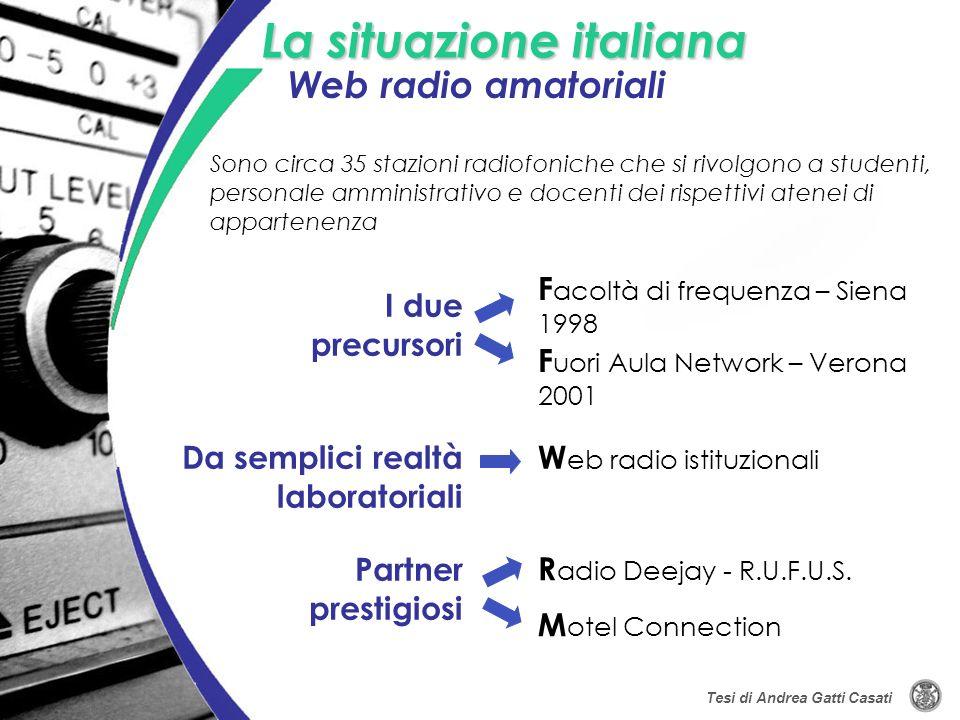 La situazione italiana I due precursori Sono circa 35 stazioni radiofoniche che si rivolgono a studenti, personale amministrativo e docenti dei rispet