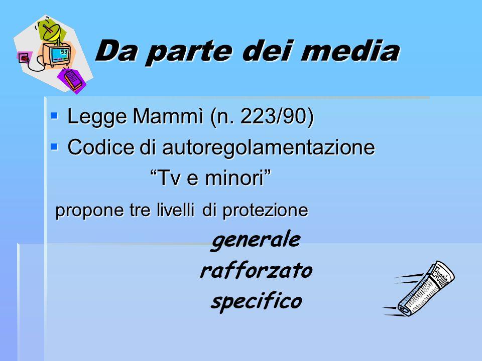 Da parte dei media Legge Mammì (n. 223/90) Legge Mammì (n. 223/90) Codice di autoregolamentazione Codice di autoregolamentazione Tv e minori Tv e mino