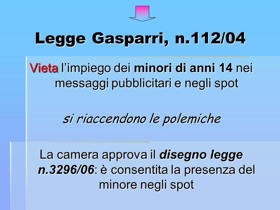 Legge Gasparri, n.112/04 Vieta limpiego dei minori di anni 14 nei messaggi pubblicitari e negli spot si riaccendono le polemiche La camera approva il