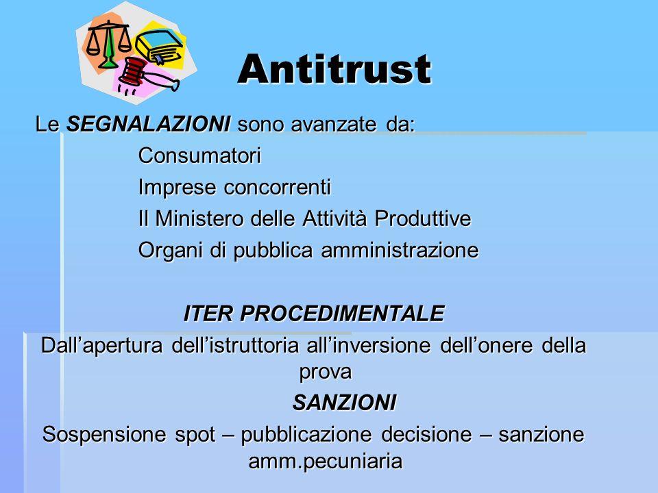 Antitrust Le SEGNALAZIONI sono avanzate da: Consumatori Consumatori Imprese concorrenti Imprese concorrenti Il Ministero delle Attività Produttive Il