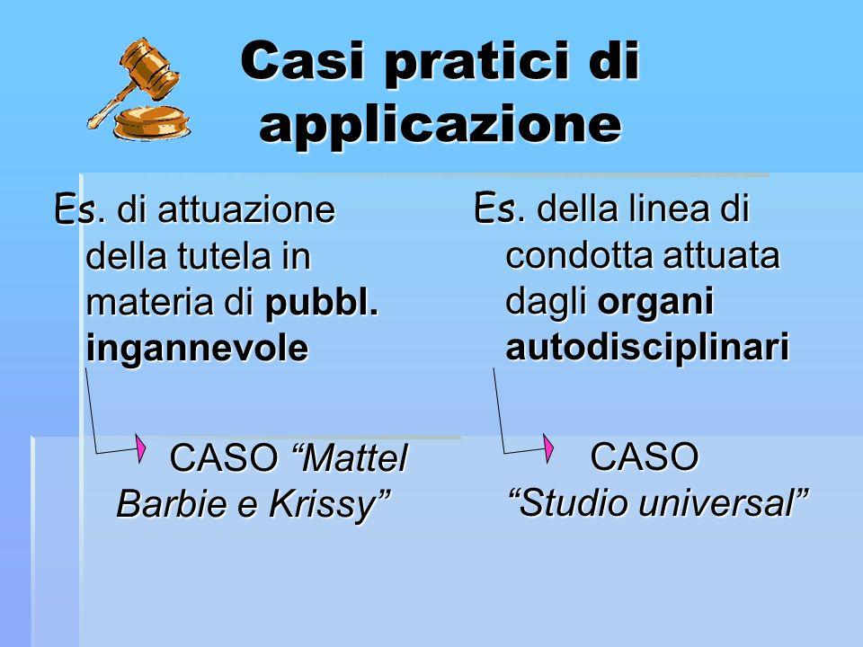 Casi pratici di applicazione Es. di attuazione della tutela in materia di pubbl. ingannevole CASO Mattel Barbie e Krissy CASO Mattel Barbie e Krissy E