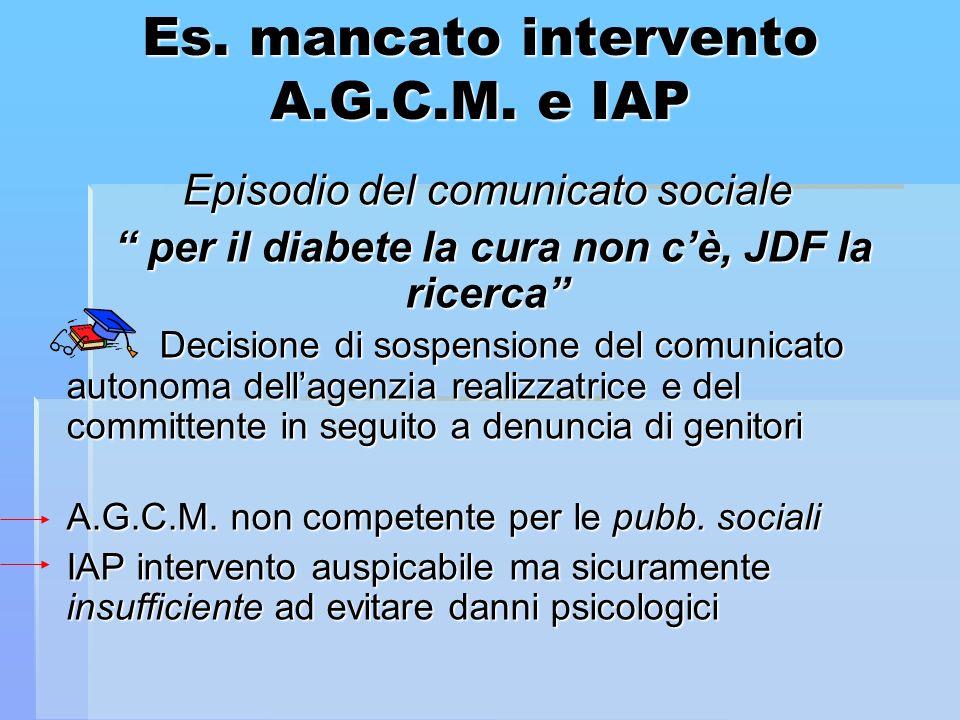 Es. mancato intervento A.G.C.M. e IAP Episodio del comunicato sociale per il diabete la cura non cè, JDF la ricerca per il diabete la cura non cè, JDF