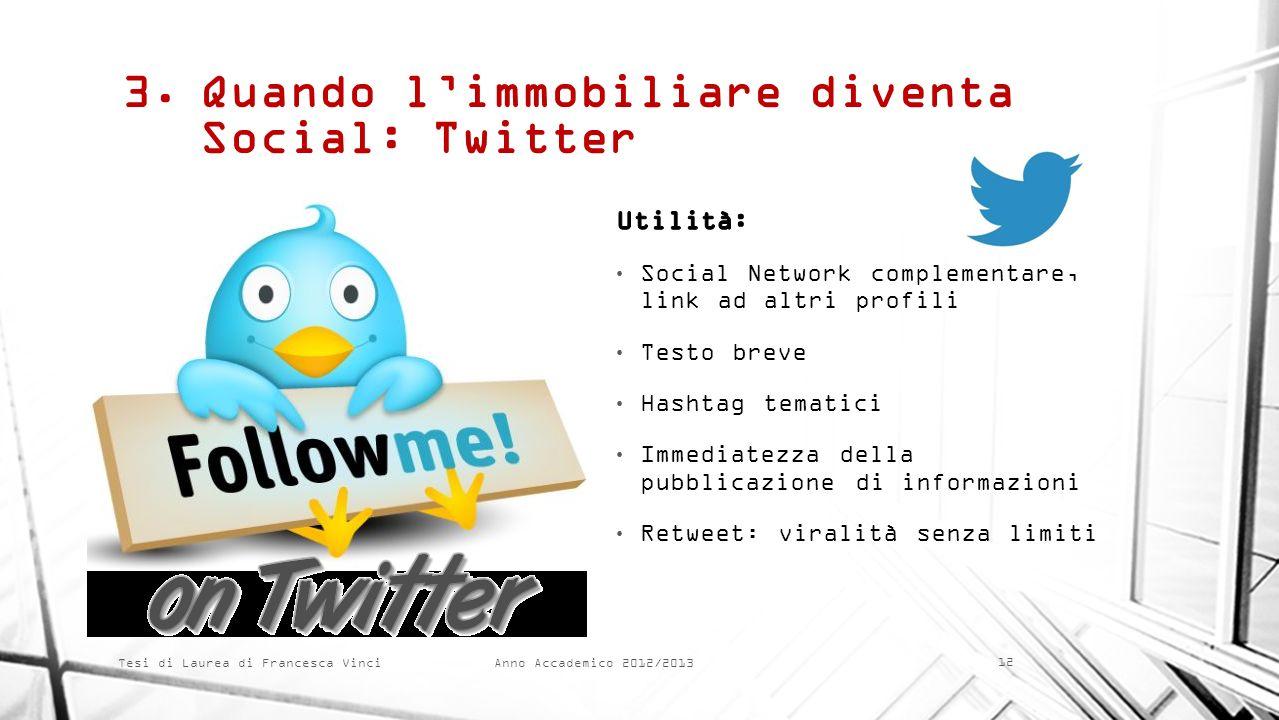 Anno Accademico 2012/2013 Tesi di Laurea di Francesca Vinci 3.Quando limmobiliare diventa Social: Twitter 12