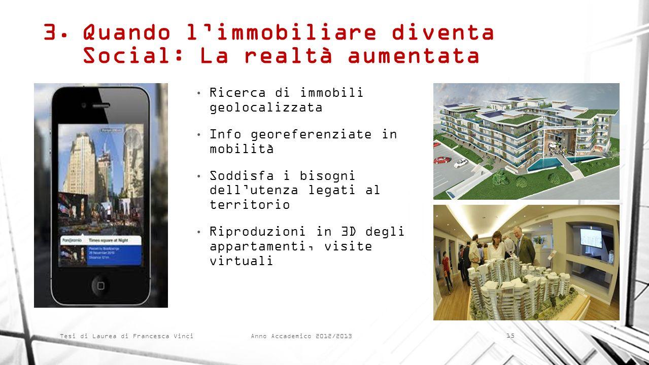 Anno Accademico 2012/2013 Tesi di Laurea di Francesca Vinci 3.Quando limmobiliare diventa Social: La realtà aumentata Ricerca di immobili geolocalizza