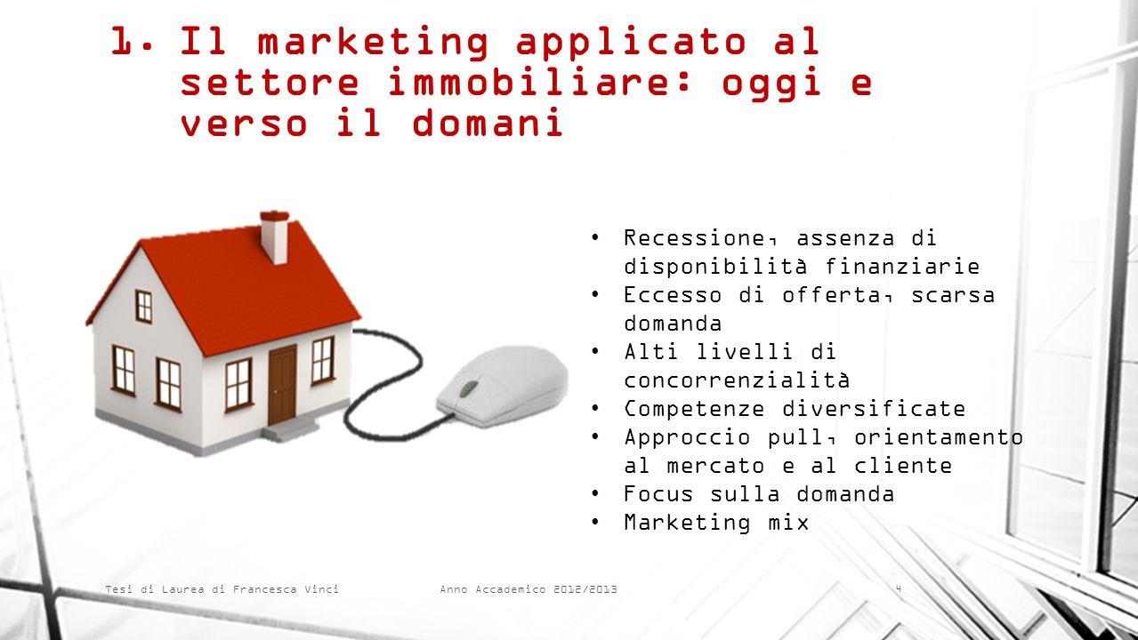 Anno Accademico 2012/2013 Tesi di Laurea di Francesca Vinci 1.Il marketing applicato al settore immobiliare: oggi e verso il domani Recessione, assenz