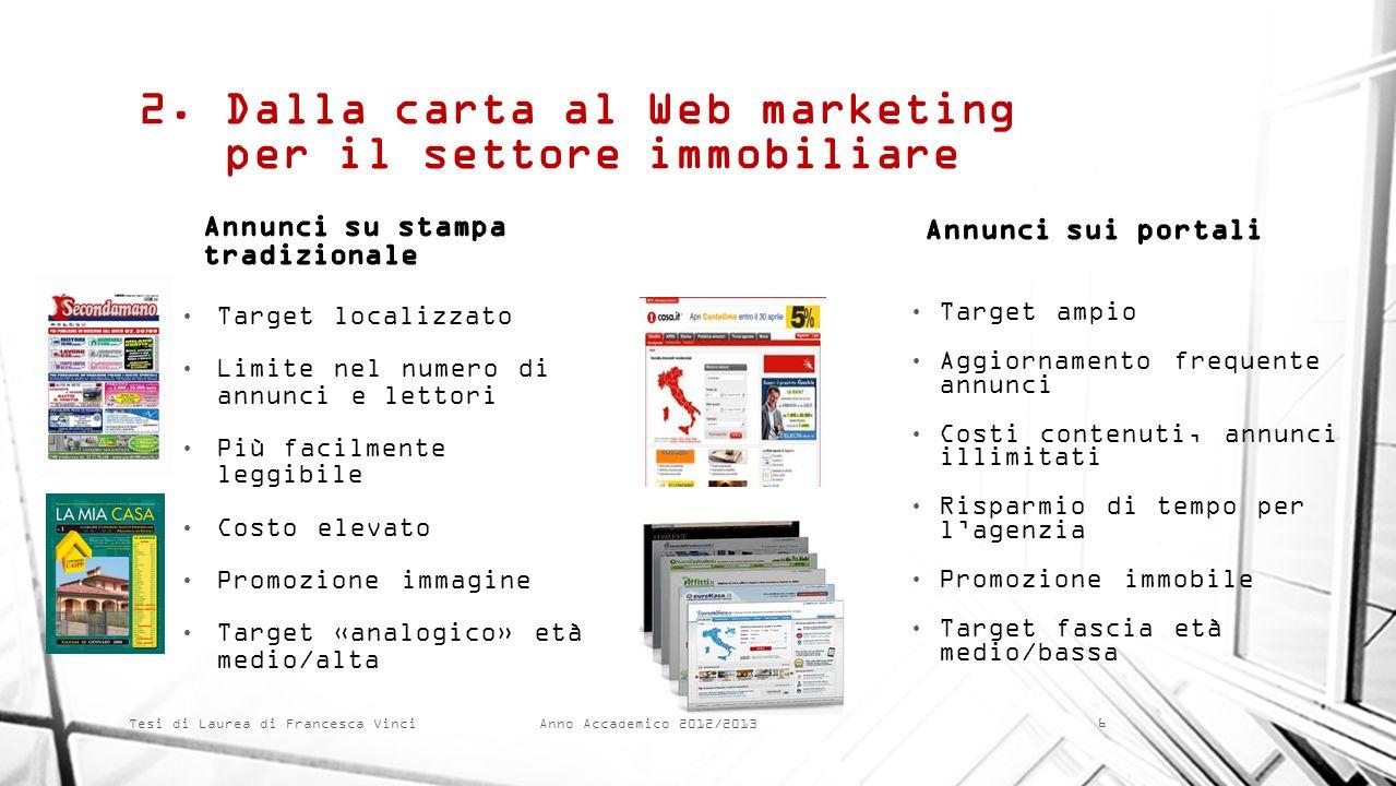 Anno Accademico 2012/2013 Tesi di Laurea di Francesca Vinci 2.Dalla carta al Web marketing per il settore immobiliare Target localizzato Limite nel nu