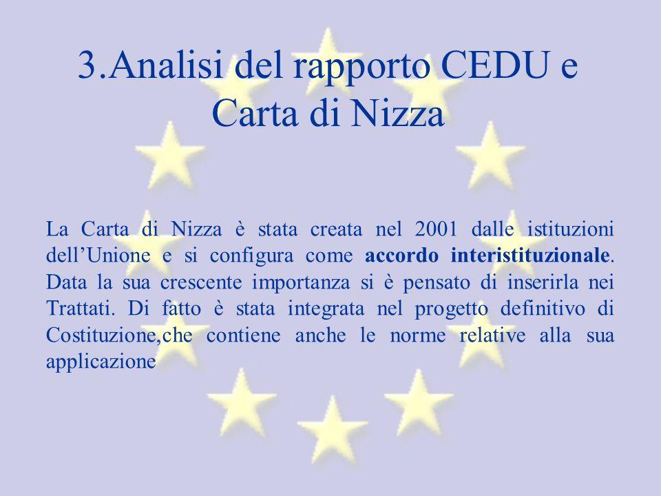 3.Analisi del rapporto CEDU e Carta di Nizza La Carta di Nizza è stata creata nel 2001 dalle istituzioni dellUnione e si configura come accordo interistituzionale.