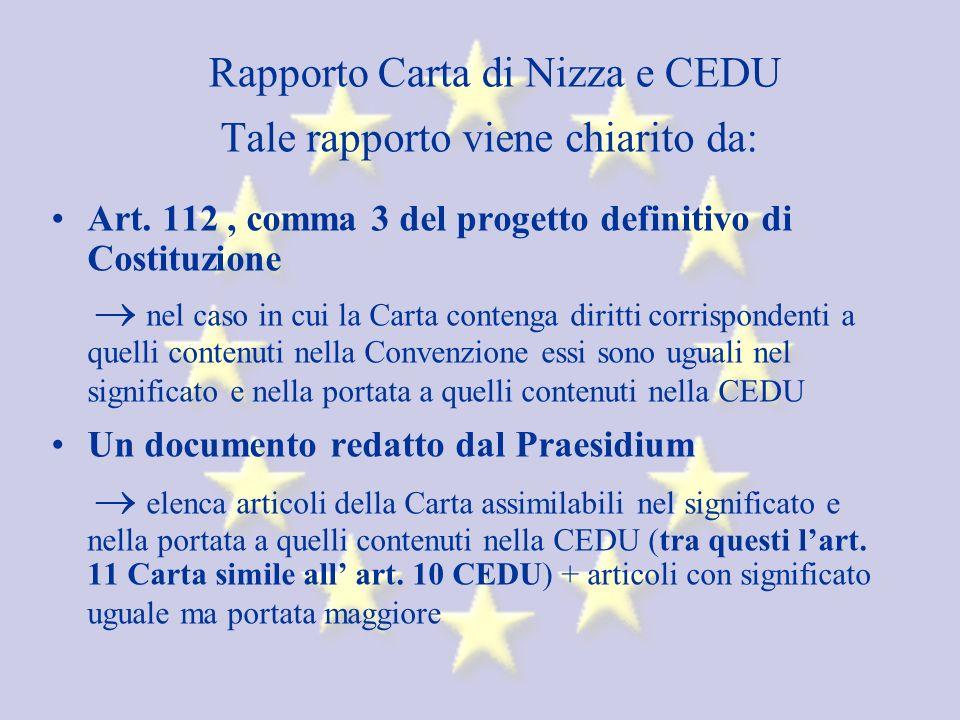 Rapporto Carta di Nizza e CEDU Tale rapporto viene chiarito da: Art.