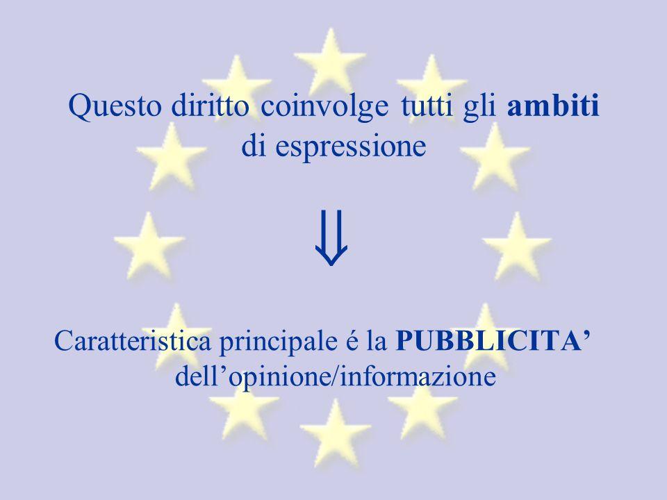 Questo diritto coinvolge tutti gli ambiti di espressione Caratteristica principale é la PUBBLICITA dellopinione/informazione