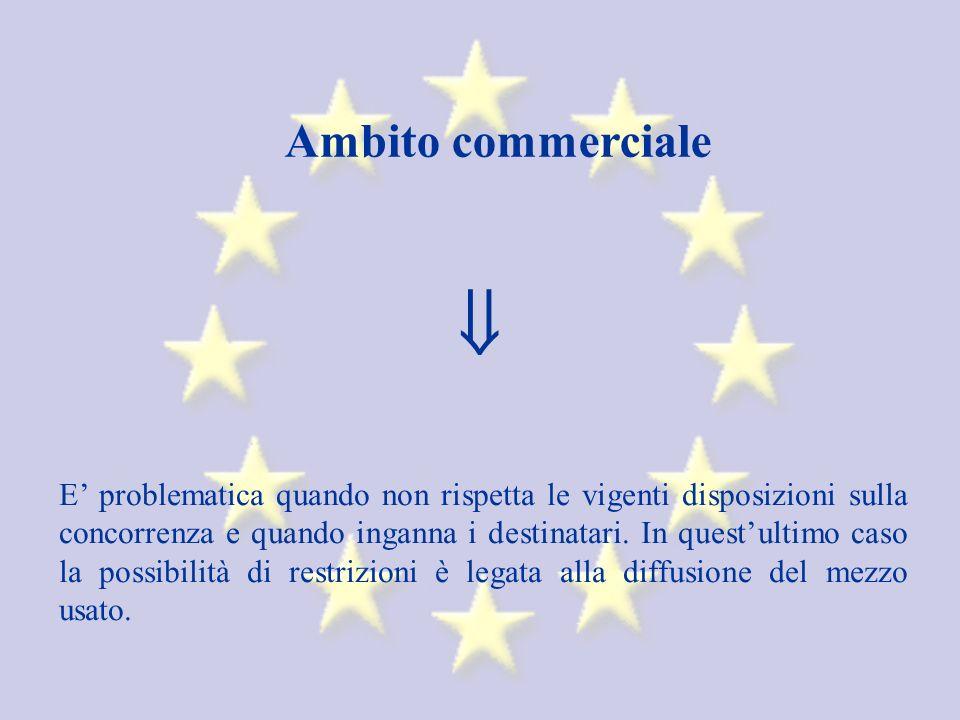 Ambito commerciale E problematica quando non rispetta le vigenti disposizioni sulla concorrenza e quando inganna i destinatari.