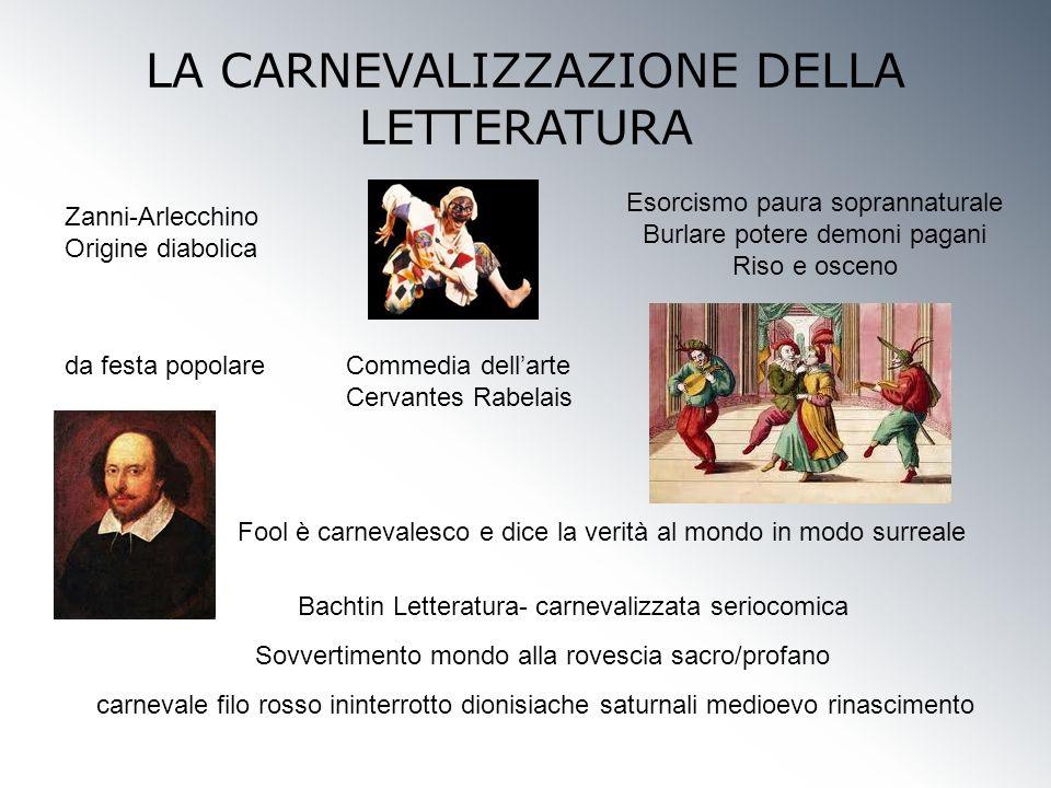 LA CARNEVALIZZAZIONE DELLA LETTERATURA da festa popolare Bachtin Letteratura- carnevalizzata seriocomica Zanni-Arlecchino Origine diabolica Commedia d