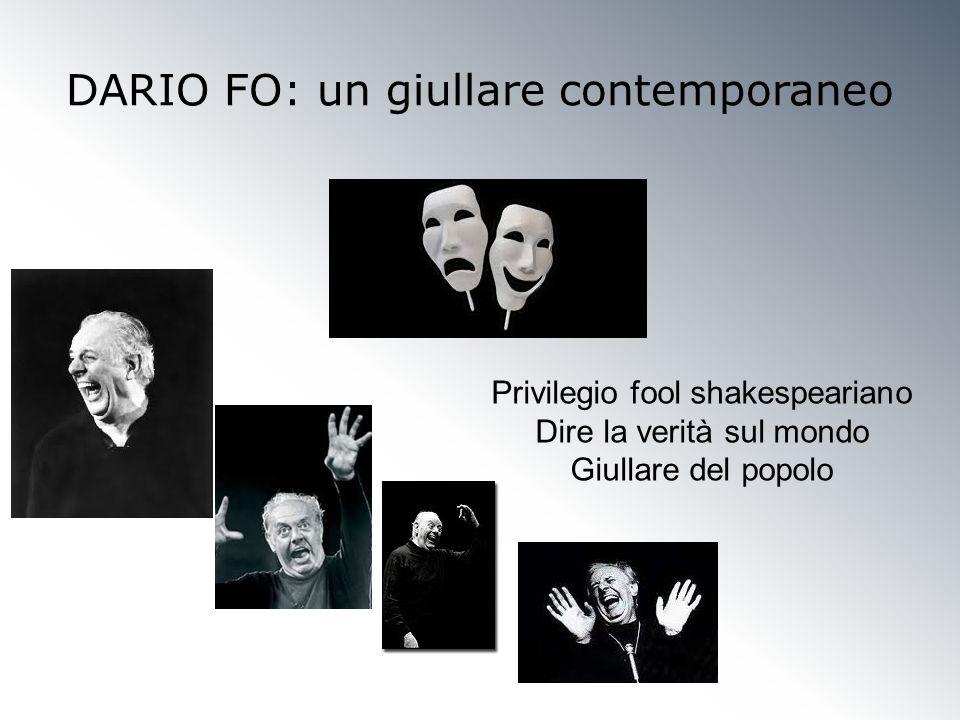 DARIO FO: un giullare contemporaneo Privilegio fool shakespeariano Dire la verità sul mondo Giullare del popolo