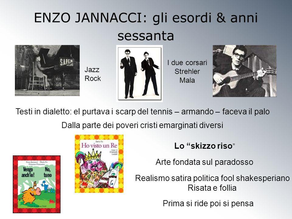 ENZO JANNACCI: gli esordi & anni sessanta Jazz Rock I due corsari Strehler Mala Testi in dialetto: el purtava i scarp del tennis – armando – faceva il
